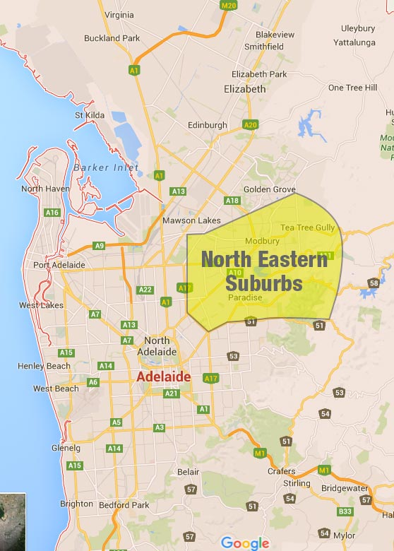 Adelaide North Eastern Suburbs Map